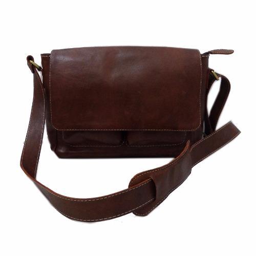 LIN'S Craft Tas Kulit - Selempang Posmen Polos - Warna Coklat