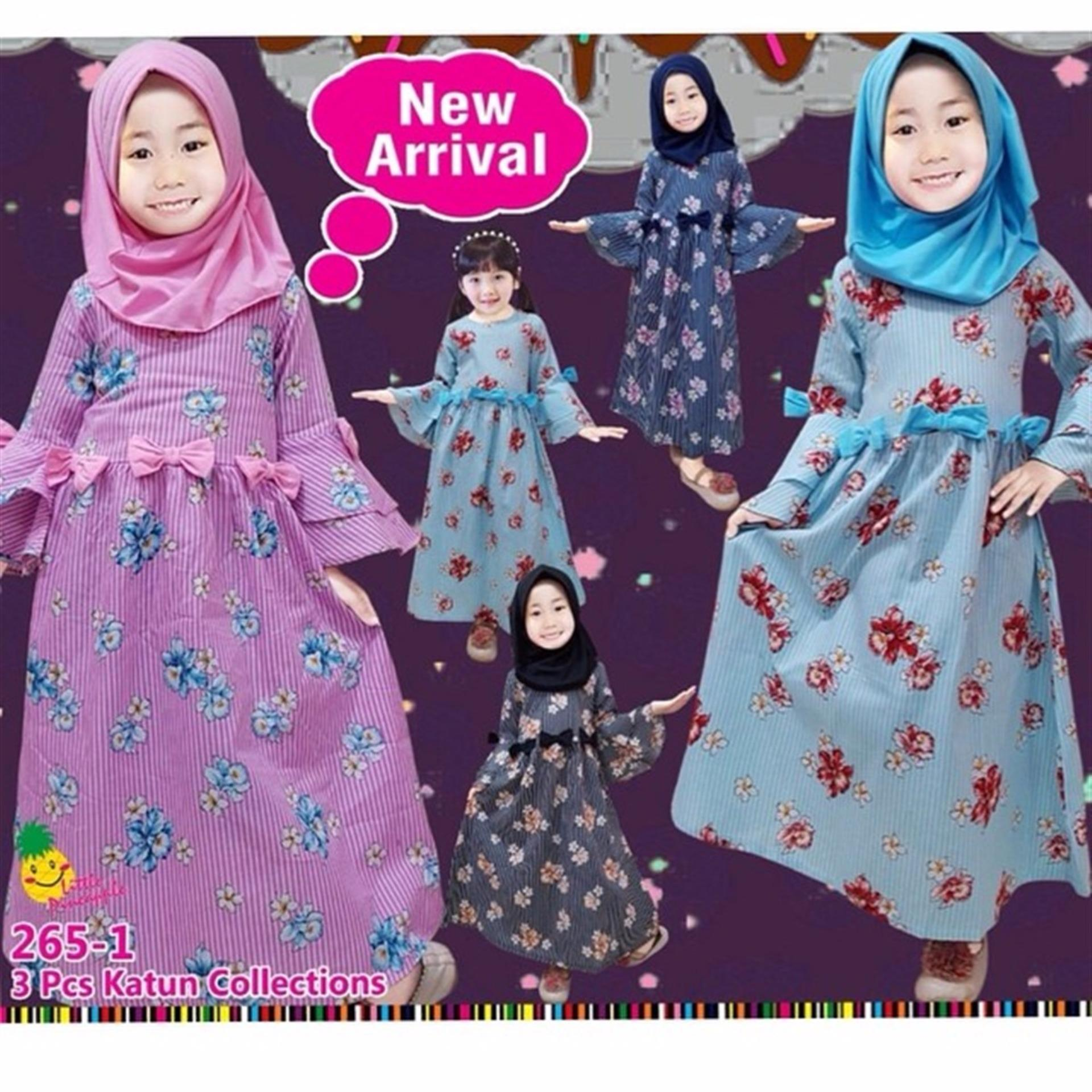 Little pineapple 2in1 Flower Gamis Dress Muslim Hijab Anak 3-8tahun