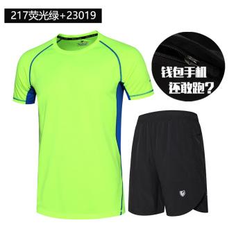 Beli Longgar Berjalan Kebugaran Room Kelima Celana Pendek Musim Panas Lengan Pendek T-shirt (217 hijau neon + 23019 hitam) (217 hijau neon + 23019 hitam) ...