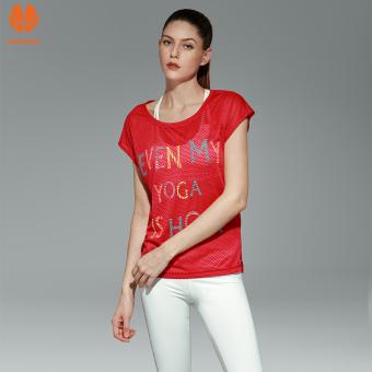 Longgar berjalan pakaian pakaian wanita Workout pakaian yoga (Merah)
