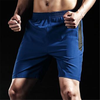 Beli Longgar kebugaran berjalan cepat kering Ukuran Plus kode celana pelatihan kebugaran celana pendek (Biru) (Biru) Murah