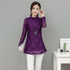 Longgar Korea Fashion Style ditambah beludru yard besar dan setengah kerah tinggi kemeja renda kemeja bottoming