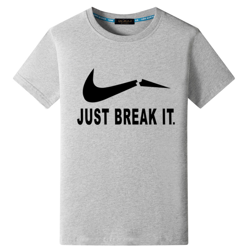 Flash Sale Longgar Korea Fashion Style kapas laki-laki lengan pendek musim panas kepribadian mencetak t-shirt (Spoof nike-abu-abu pakaian hitam gambar) ...