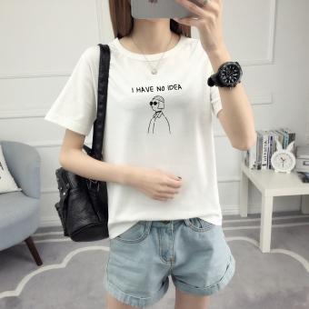 Longgar Korea Fashion Style Perempuan Lengan Pendek Mahasiswa T-shirt (528- Putih)