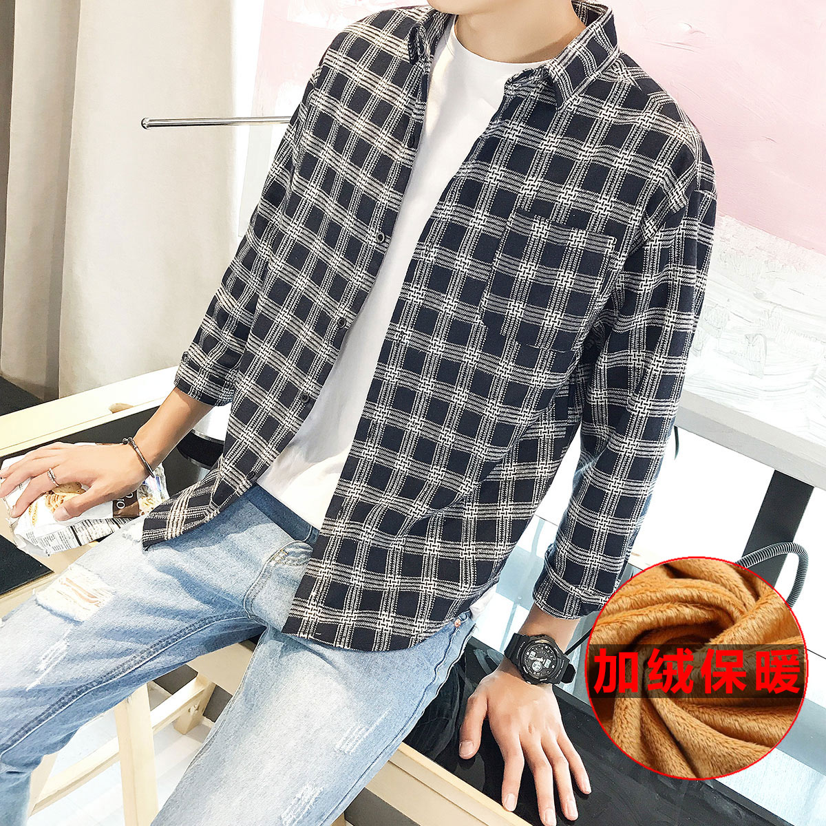 Flash Sale Longgar Korea Fashion Style Tambah Beludru Pria Lengan Panjang Kemeja Kotak kotak Kemeja Ditambah
