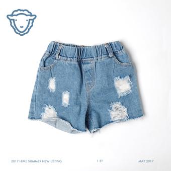 Jual Longgar liar musim panas anak anak bagian tipis duri celana jeans Celana Pendek Denim (Biru denim) (Biru denim) Online Terjangkau