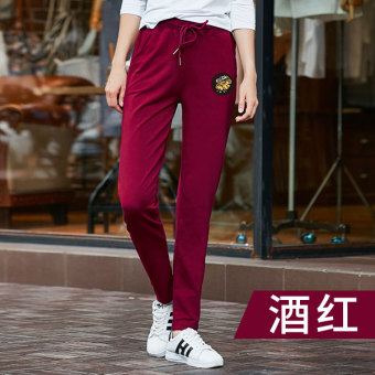 Jual Longgar lurus panjang Wei celana kebugaran celana (Merah anggur) Murah 1dc1a8cf5c