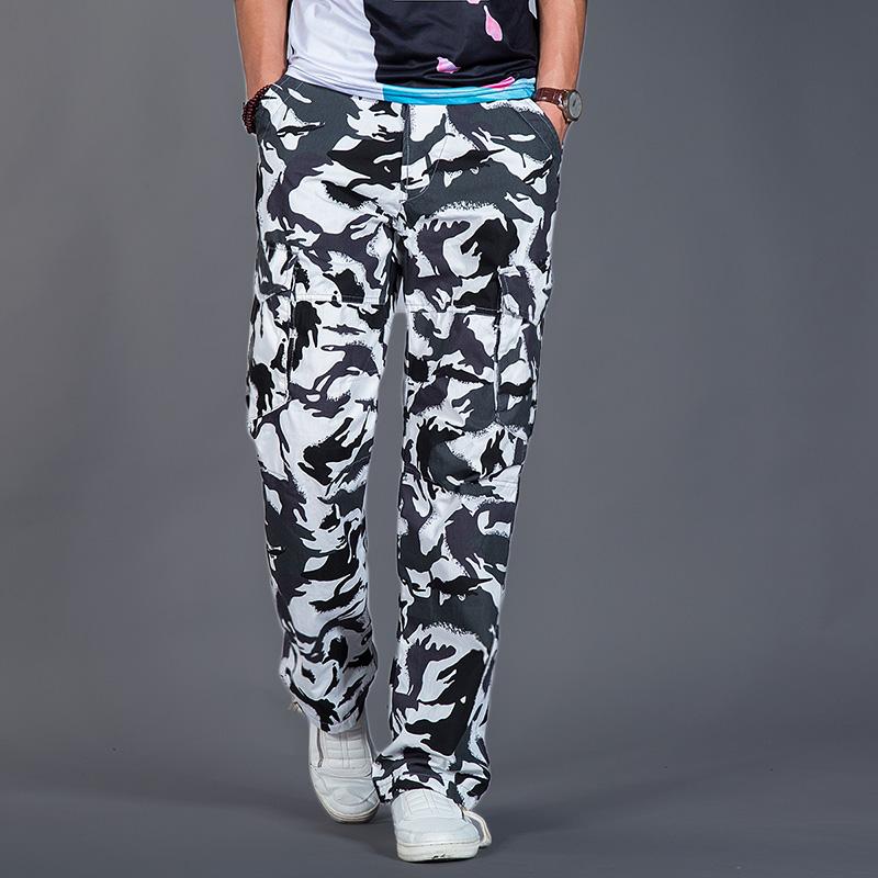 Flash Sale Longgar musim panas bagian tipis laki-laki celana panjang kamuflase celana (Putih kamuflase)