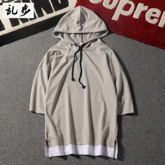 Longgar Musim Panas Pria Sweater Korea Fashion Style Berkerudung Lengan Pendek T-shirt (540