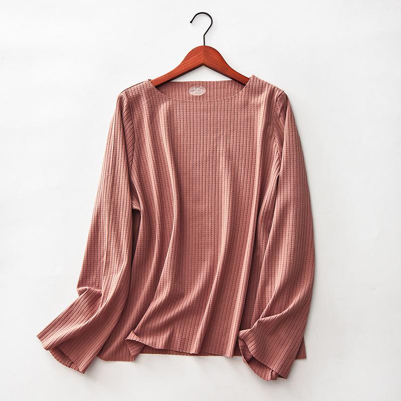 ... Flash Sale Longgar Perempuan Tidak Berbekas Leher Bulat Baju Musim Gugur Katun Bergaris Lengan Panjang T