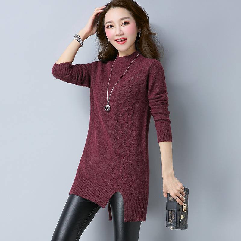 LOOESN baru setengah tinggi kerah asimetris gaun sweater rajutan kemeja (Ungu)