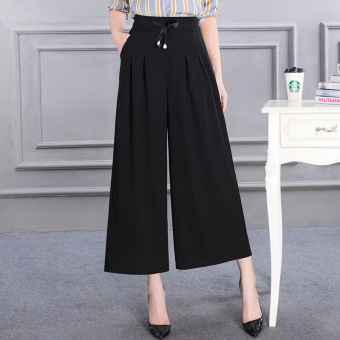 Terbaik Murah LOOESN chiffon female thin New style ankle-length pants wide leg pants (