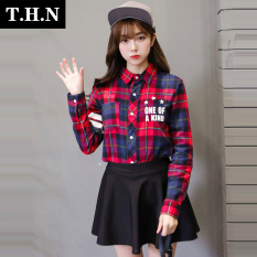 LOOESN college style Spring and Autumn square plaid long-sleeved base shirt (Gambar warna