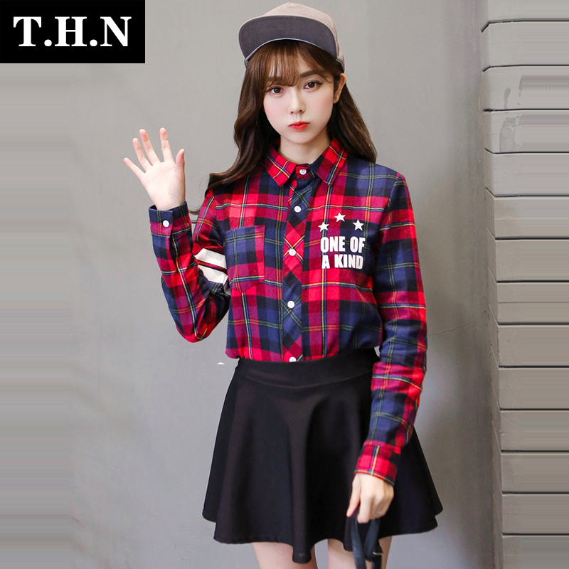 Flash Sale LOOESN college style Spring and Autumn square plaid long-sleeved base shirt (Gambar warna)