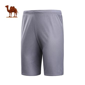 Gambar LOOESN elastis kebugaran celana pendek pria baru unta (C7W2X6695, abu abu gelap)