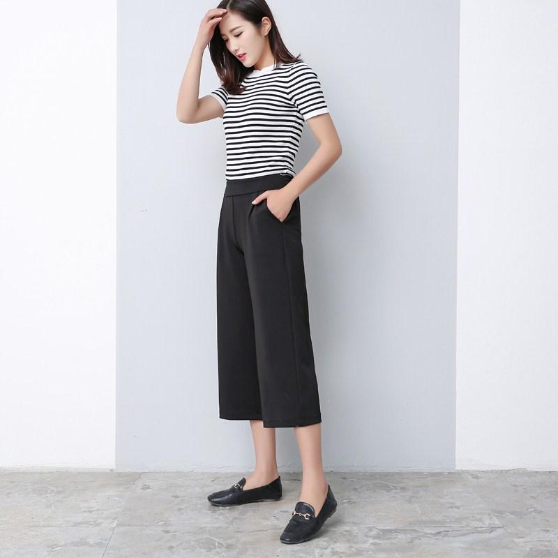 LOOESN Female Summer New style ankle-length pants wide leg pants (Kustom)