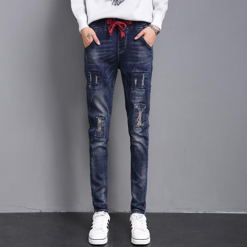 LOOESN Gaya Korea perempuan tipis celana panjang kaki celana jeans (Biru tua)