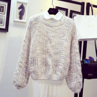 LOOESN kecil segar perempuan pinggang tinggi kemeja pullover ayat pendek sweater (Nasi putih)