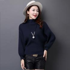 LOOESN Korea Fashion Style baru kemeja kelelawar sweater Biru tua