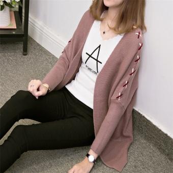 LOOESN Korea Fashion Style baru Lengan saku cardigan sweater rajutan baju kelelawar (Ungu muda)