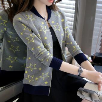 LOOESN Korea Fashion Style baru merajut sweter kardigan (Abu-abu)