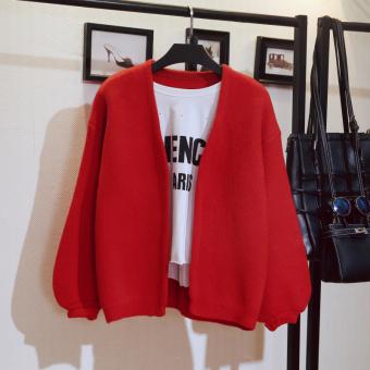 LOOESN Korea Fashion Style baru musim gugur lentera lengan sweter kardigan ayat pendek sweater (Merah