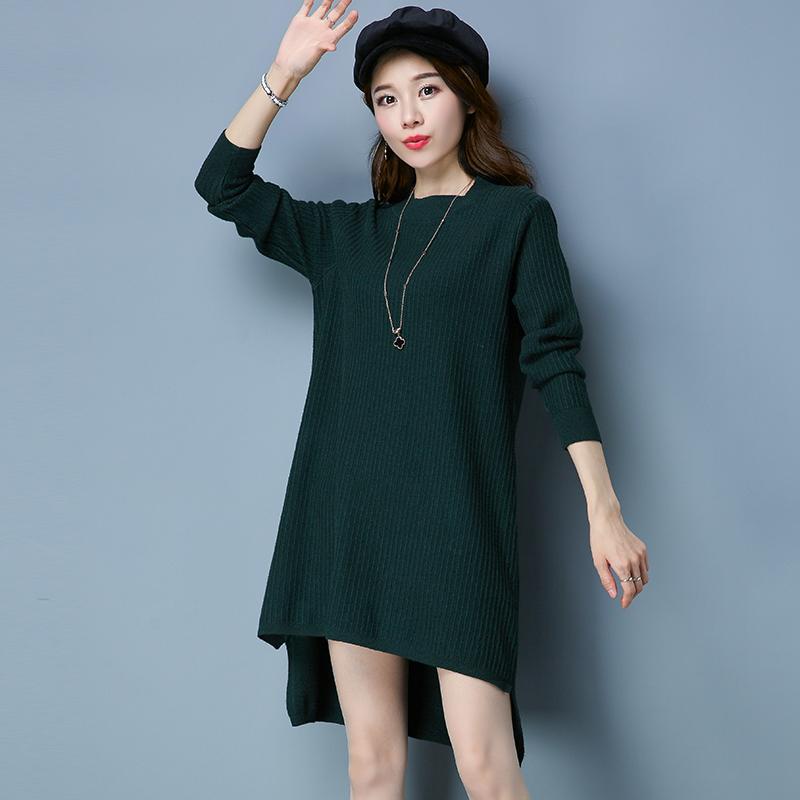 Flash Sale LOOESN Korea Fashion Style baru perempuan bagian panjang merajut sweater (Hijau gelap)