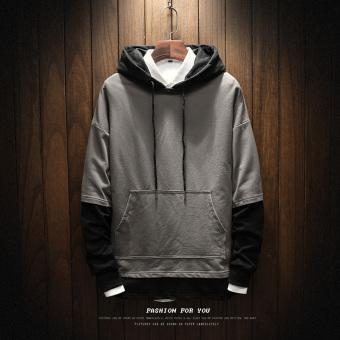 LOOESN Korea Fashion Style laki-laki berkerudung musim gugur sweater hoodie (W17109 abu-