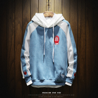 LOOESN Korea Fashion Style laki-laki berkerudung musim gugur sweater hoodie (W17121 biru)