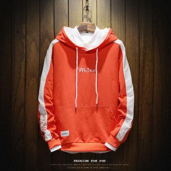 LOOESN Korea Fashion Style laki-laki berkerudung musim gugur sweater hoodie (W17139 merah)