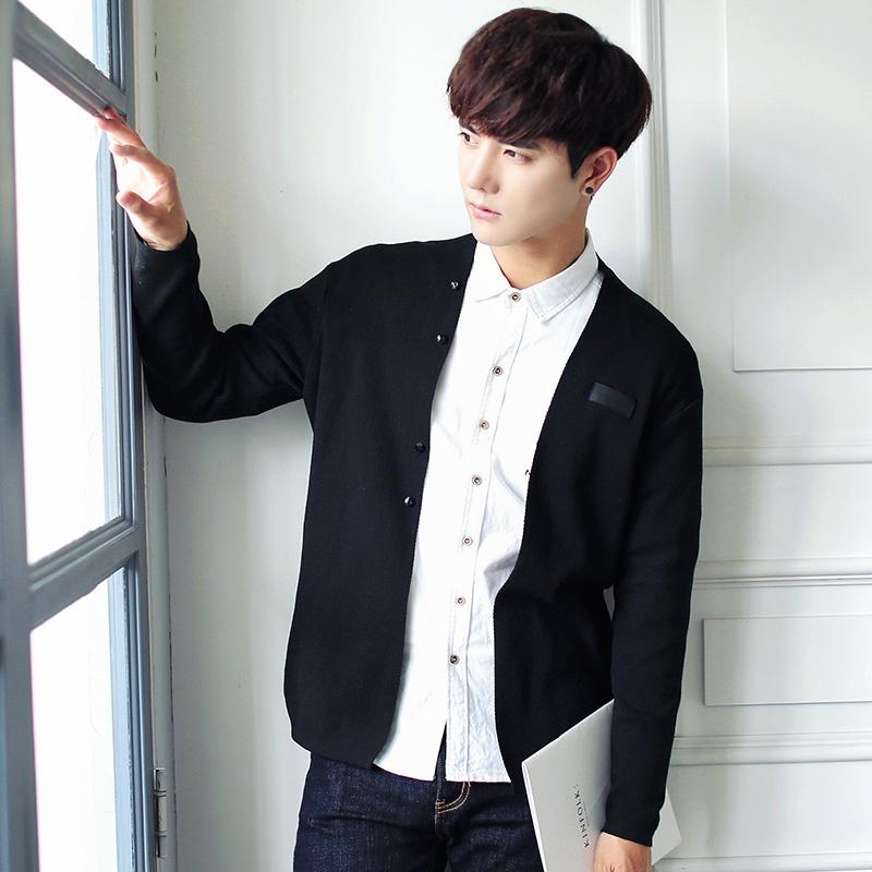 Flash Sale LOOESN Korea Fashion Style merajut laki-laki garis pakaian pria merajut kardigan (Hitam)