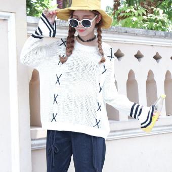 Belanja murah LOOESN Korea Fashion Style merajut putih perempuan kemeja tanduk lengan sweater (Putih)
