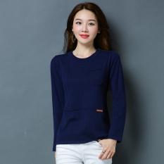 LOOESN Korea Fashion Style merajut warna solid perempuan bottoming kemeja sweater baru (YF1857 biru tua