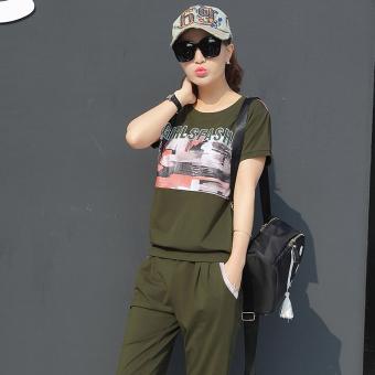 Beli LOOESN Korea Fashion Style perempuan baru leher bulat t-shirt (Tentara hijau) Online