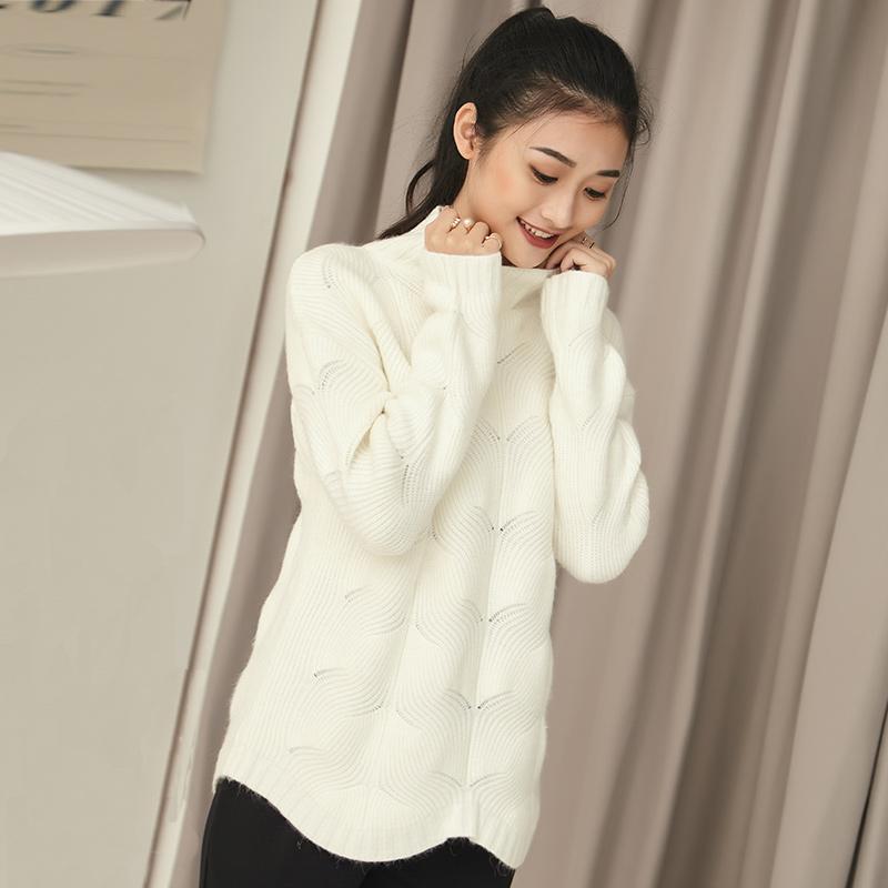 Flash Sale LOOESN Korea Fashion Style perempuan tipis berleher tinggi lengan panjang kemeja sweater (Putih