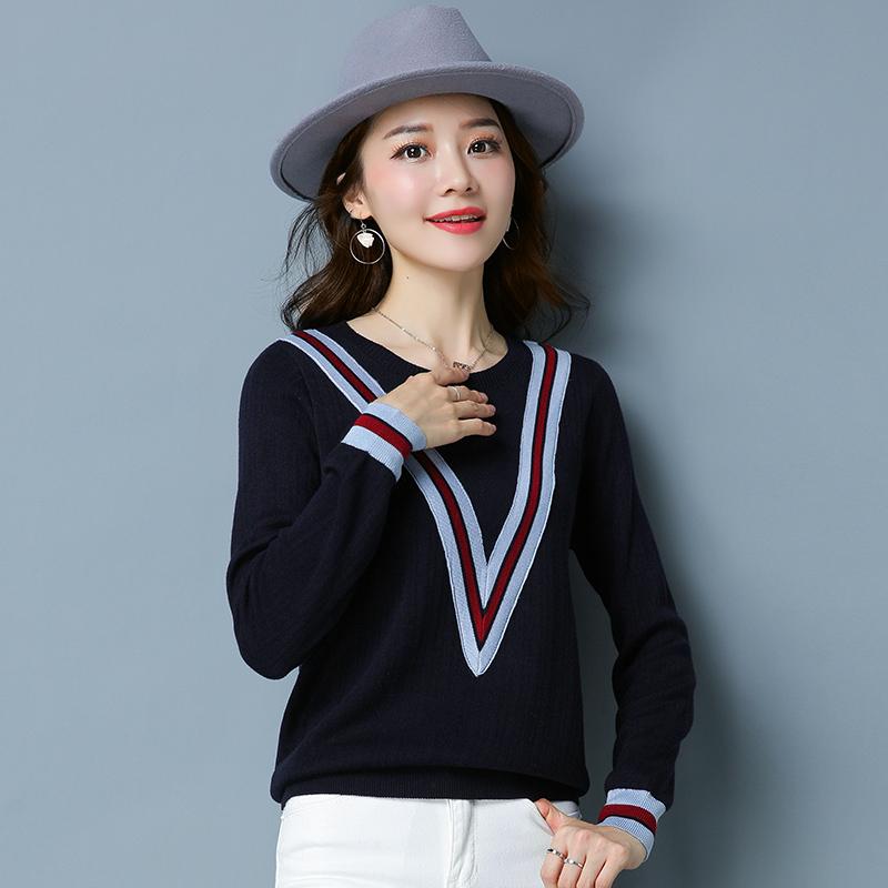 ... LOOESN Korea Fashion Style style lengan panjang sweater pullover sweater YXY8128 biru