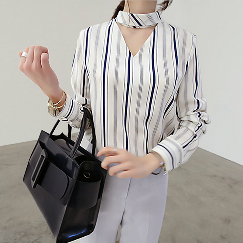 LOOESN Korean-style chiffon female long-sleeved Top blue and white striped shirt (