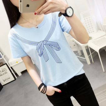 LOOESN Korean-style Female Summer New style Short sleeve Top T-shirt (556 (biru))