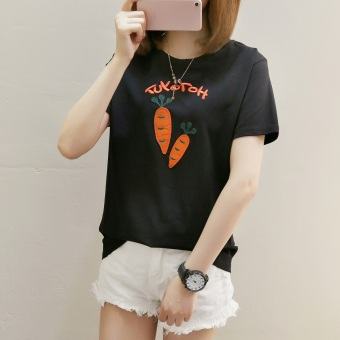 LOOESN Korean-style short sleeved t-shirt New style Female Summer (273 * wortel Hitam)