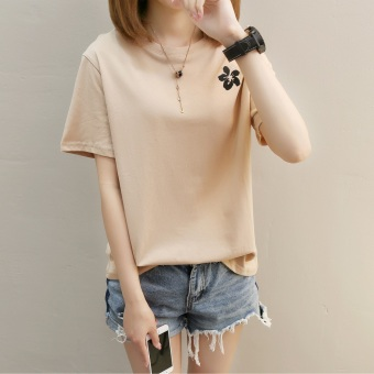 LOOESN Korean-style short sleeved t-shirt New style Female Summer (274 * bunga khaki)