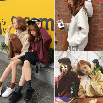 LOOESN Korean-style solid color autumn short jacket hooded pullover hoodie (Abu-abu