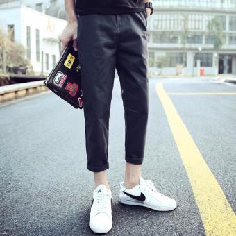 Gambar LOOESN Korean style student skinny harem pants versatile casual pants (Hitam)
