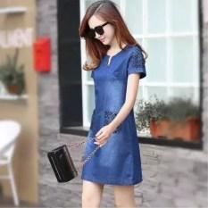 LOOESN perempuan baru tipis Sebuah rok kata dress denim (Denim biru)