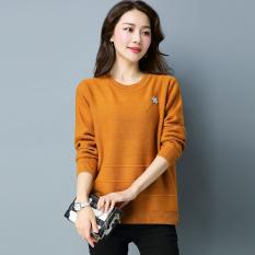LOOESN perempuan pullover lengan panjang musim semi dan musim gugur bottoming kemeja leher bulat sweater (