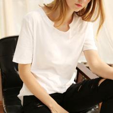 LOOESN sastra katun warna solid sembilan poin t-shirt kemeja blus (Lengan pendek putih