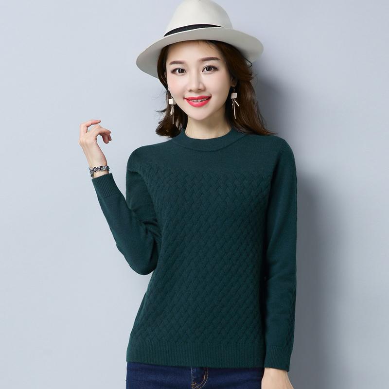 Flash Sale LOOESN Shishang perempuan pullover lengan panjang bottoming kemeja Musim Semi dan Gugur warna solid sweater (Hijau gelap)