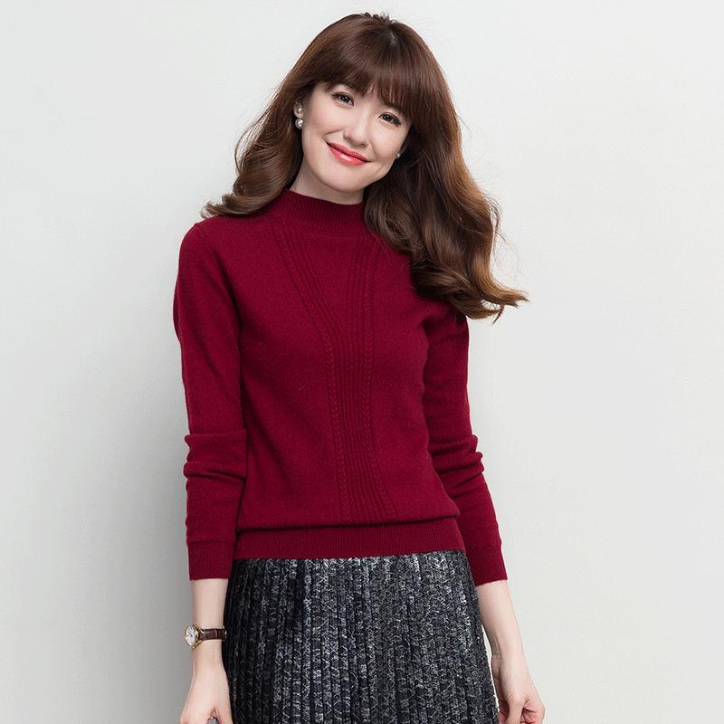Shishang Warna Solid Setengah Tinggi Leher Bulat Sweater Bottoming Source · Flash Sale LOOESN wanita kasmir pullover dan setengah kerah tinggi kemeja ...