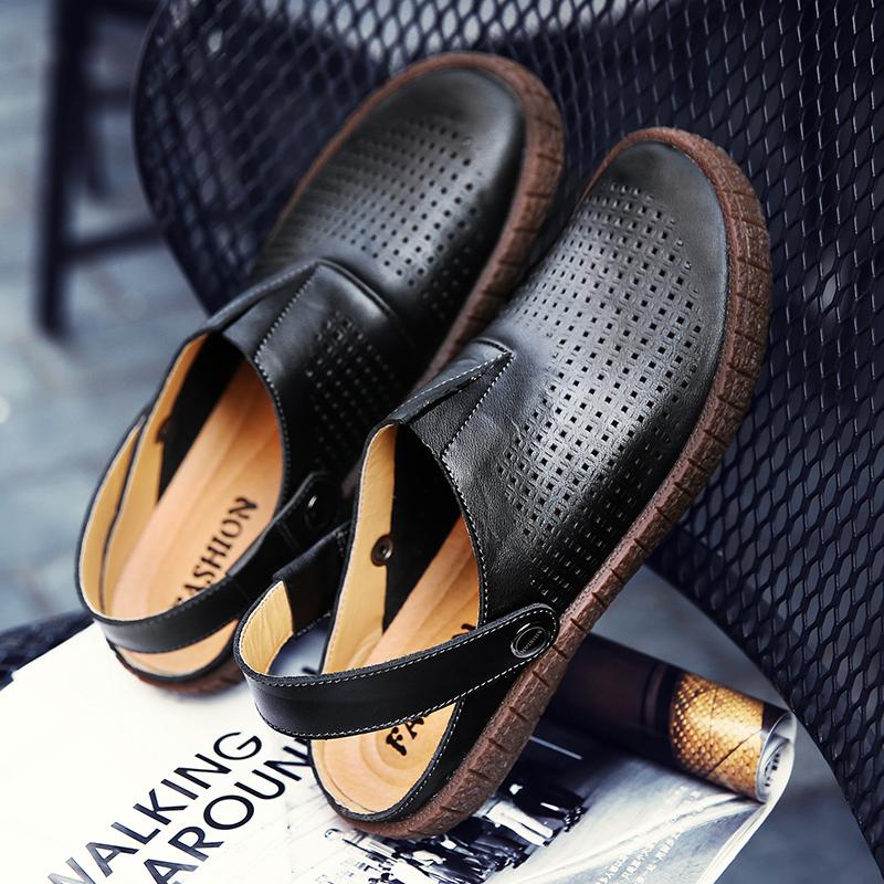 Lubang lubang sepatu pria sandal sandal kulit kasual laki-laki laki-laki laki-