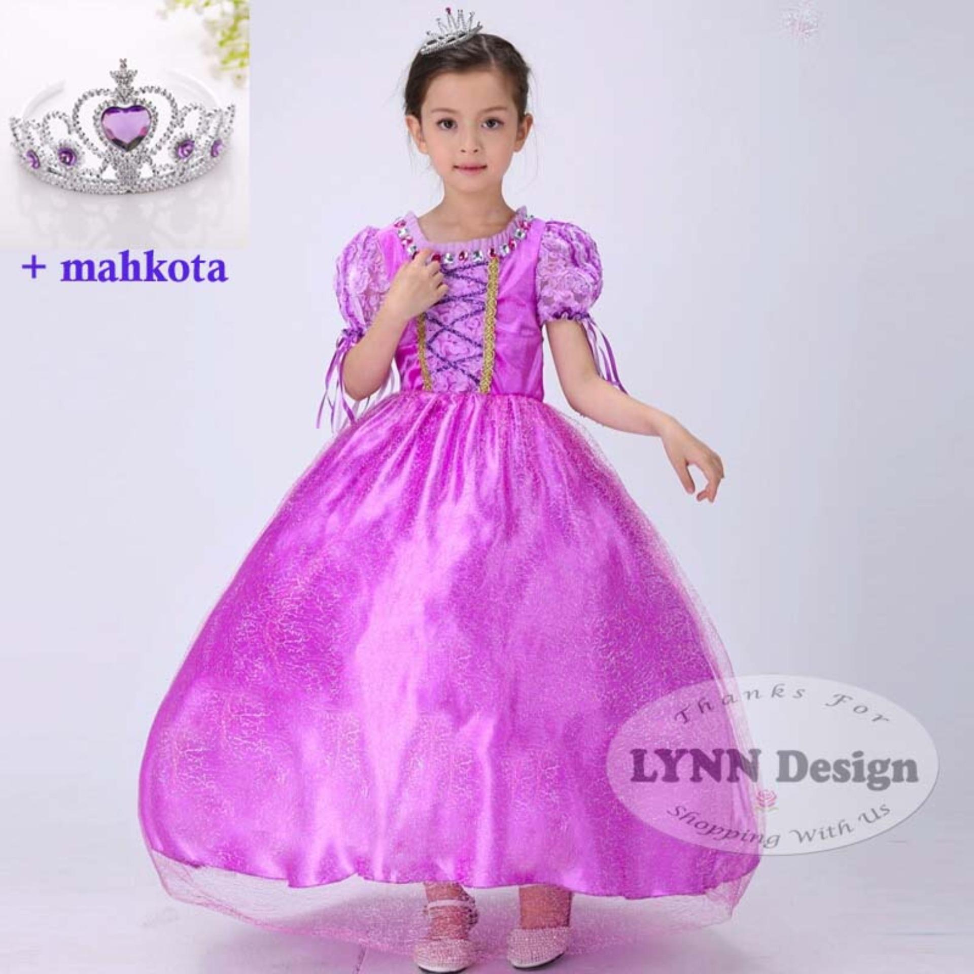 Lynn Design- Baju Dress Gaun Pesta Kostum anak Rapunzel Premium +Mahkota