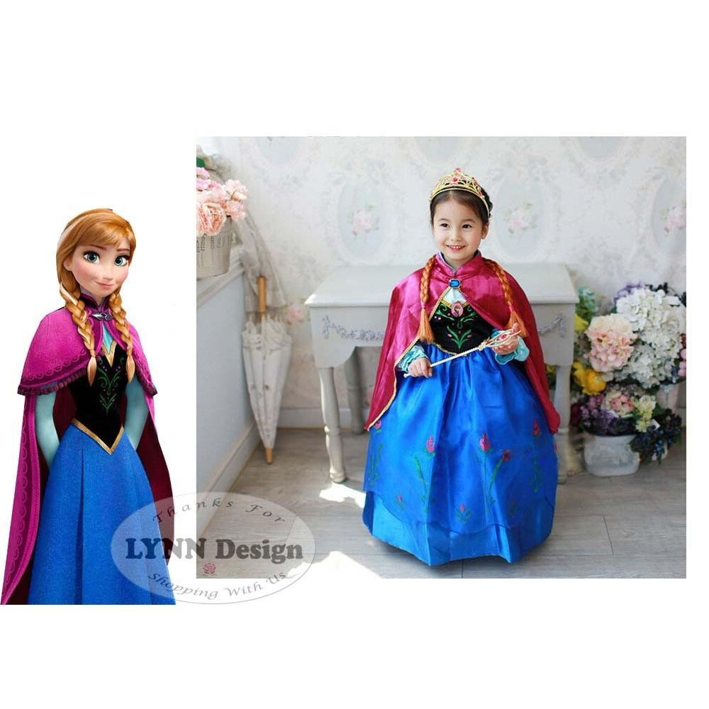 Lynn Design - Baju Dress Kostum anak gaun pesta Frozen Princess Anna elsa Jubah Merah